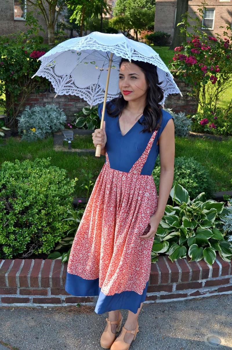 Lisa Rosado wearing Lauren Moffat Swing Midi Dress with parasol