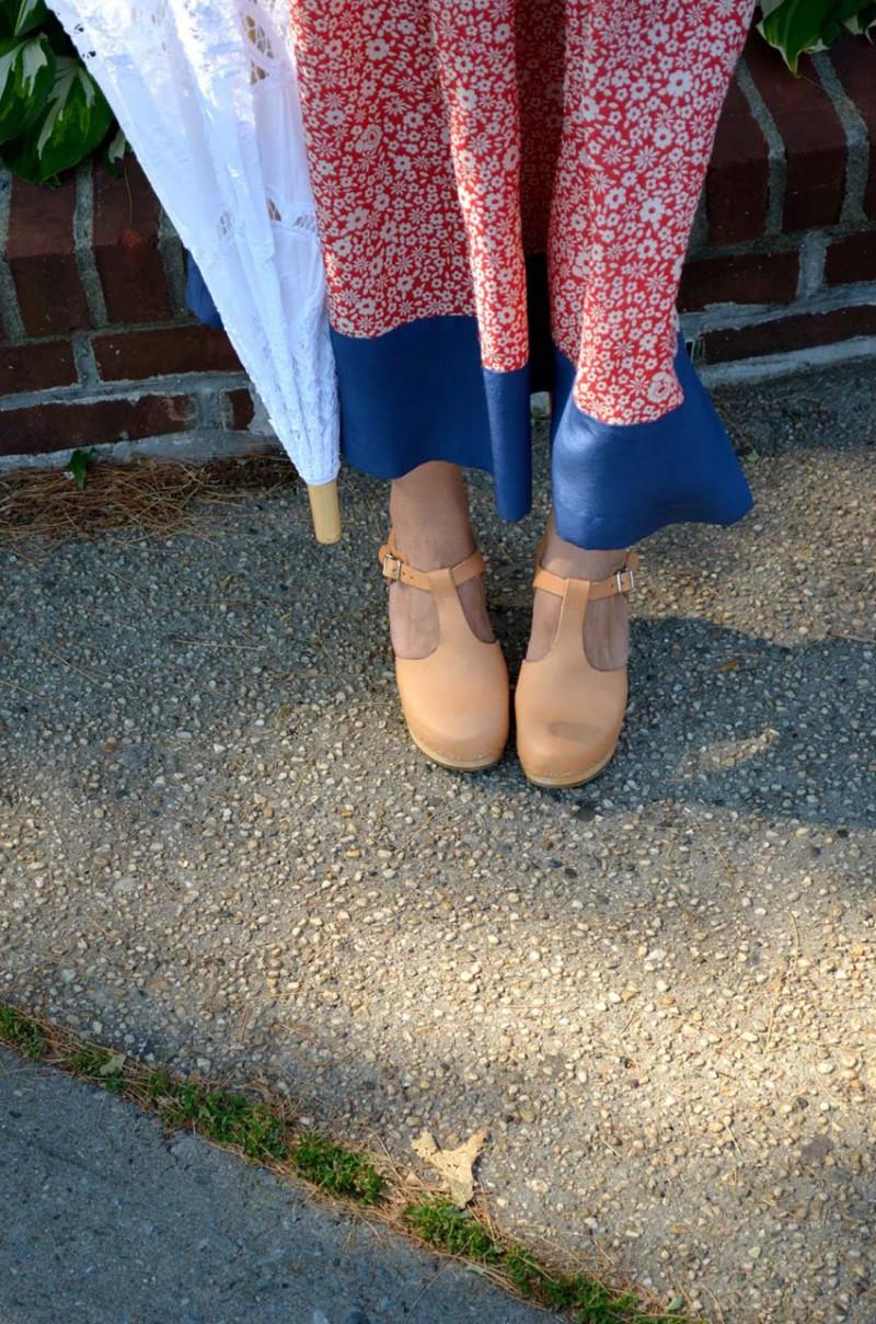 Lisa Rosado wearing Swedish Hasbeens T-strap Shoes