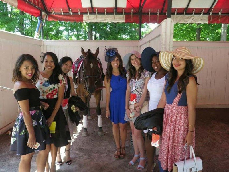 Lisa Rosado with other bloggers at Saratoga Springs Racetracks