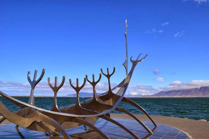 Art overlooking water in Iceland
