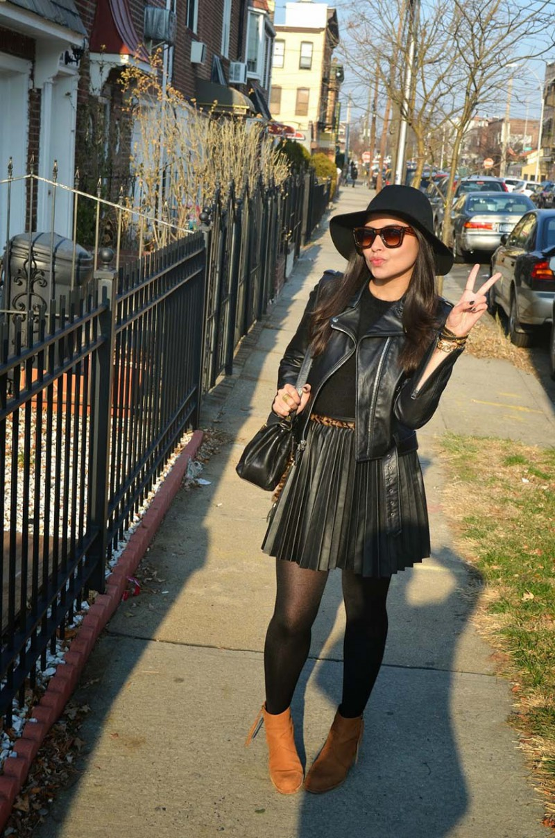 Lisa Rosado wearing Schott NYC Perfecto Leather Jacket