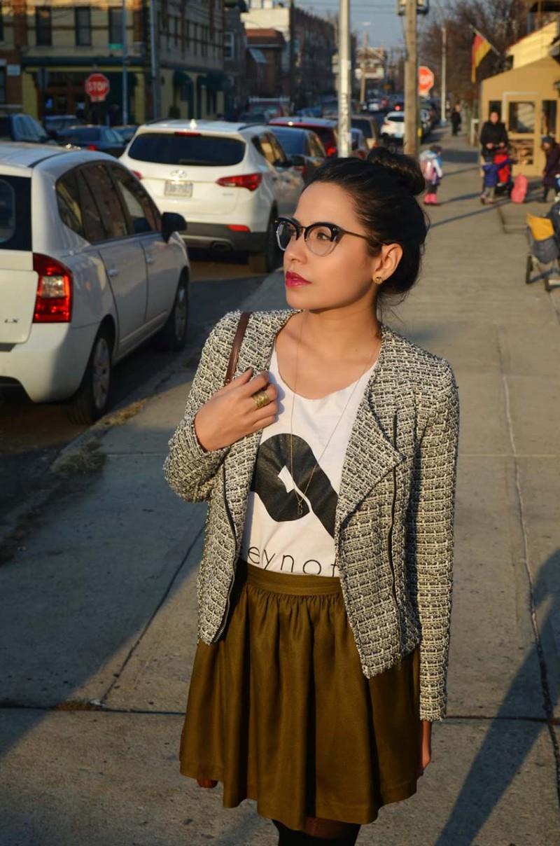 Lisa Rosado wearing Tweed Moto Jacket