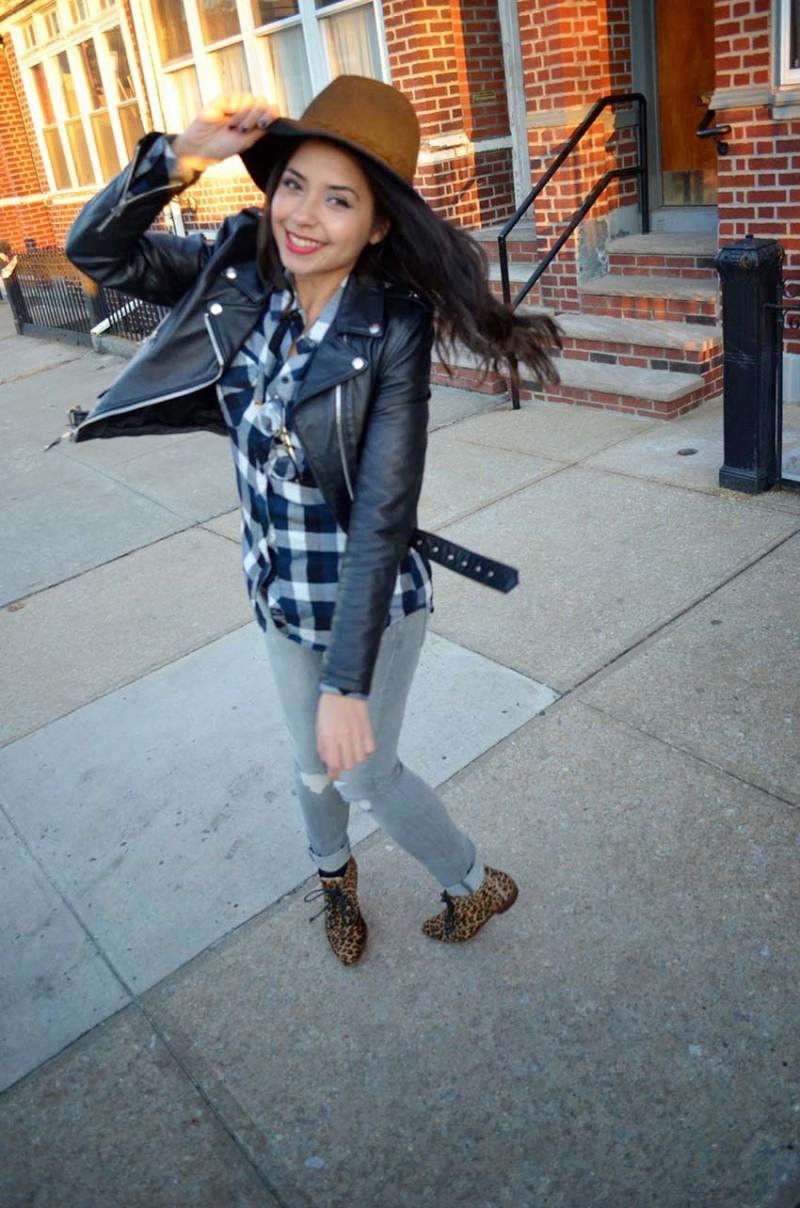 Lisa Rosado wearing Free People Fedora and Schott Perfecto Leather Jacket