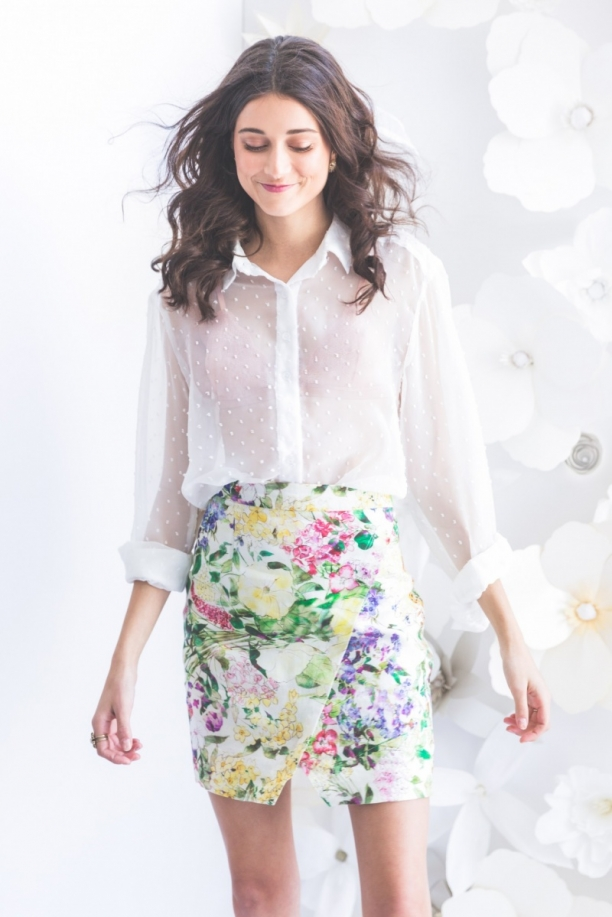 TST Collective In Bloom Asymmetrical Skirt Swiss Dot Chiffon Top