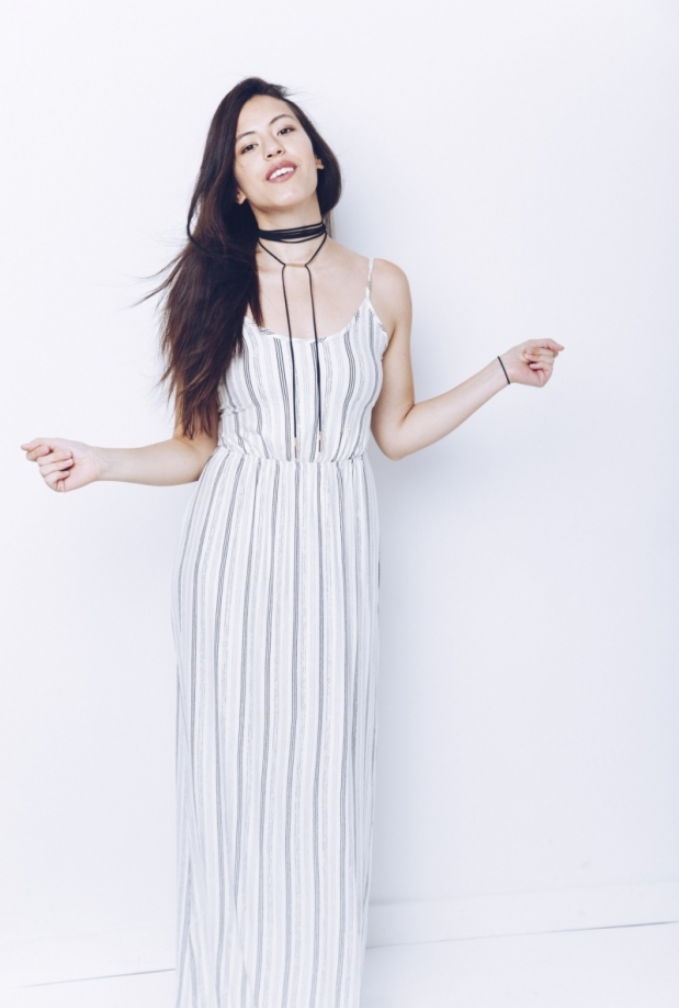 Striped Tie Back Maxi Dress
