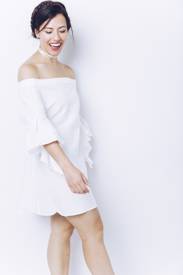 White Ruffle Sleeve OTS Dress