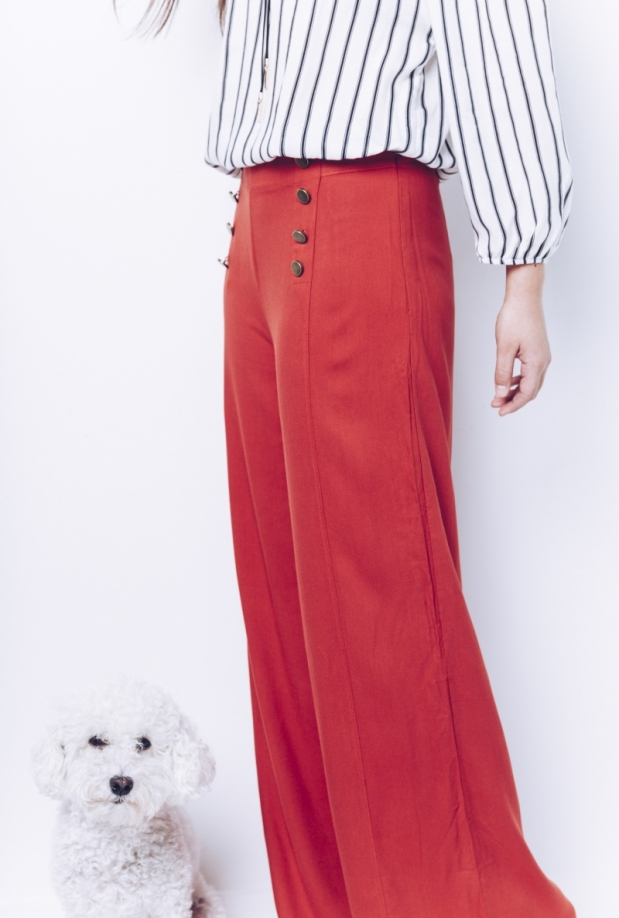 Rust Wide Leg Sailor Pant