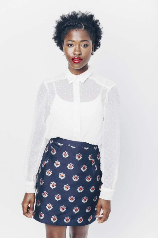 Navy Evra Floral Love Skirt