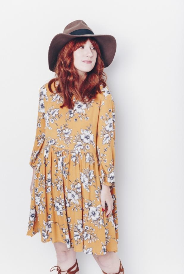 Mustard Floral Dress