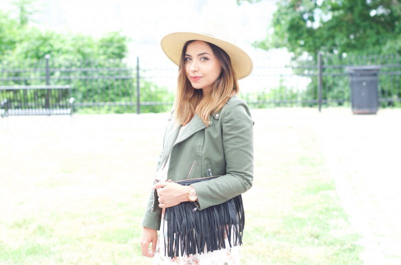 Lisa Rosado wearing Straw Hat, Moto Jacket, Fringe Bag and Rose Gold Watch