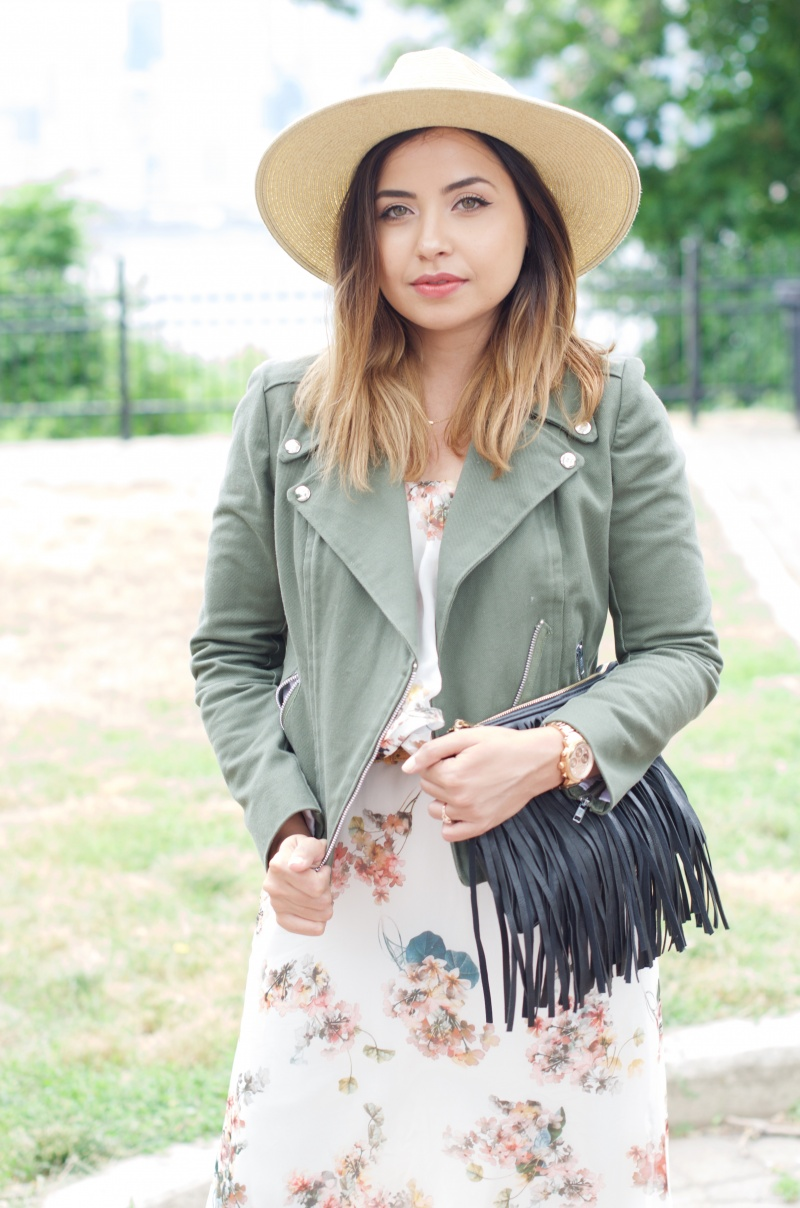 Lisa Rosado wearing The Style Theory Collective x Cut From The Same Cloth Army Green Moto Jacket with Floral Maxi Dress