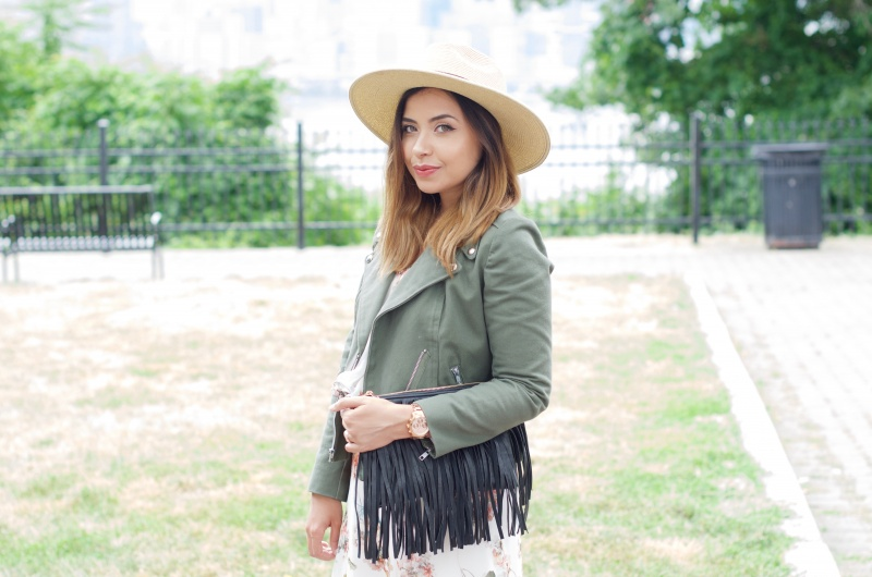 Lisa Rosado wearing Straw Hat, Moto Jacket, Fringe Bag and Rose Gold Watch