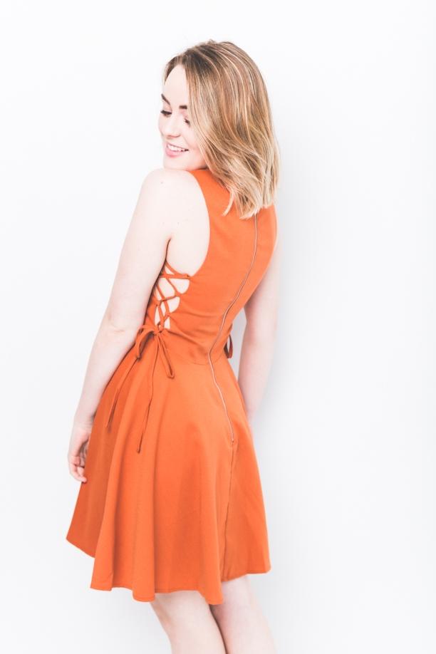 Bri A-Line Lace Up Dress