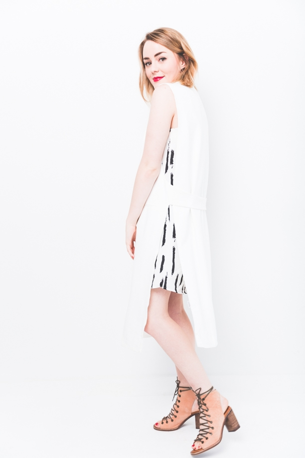 White Brushstroke Mini Dress
