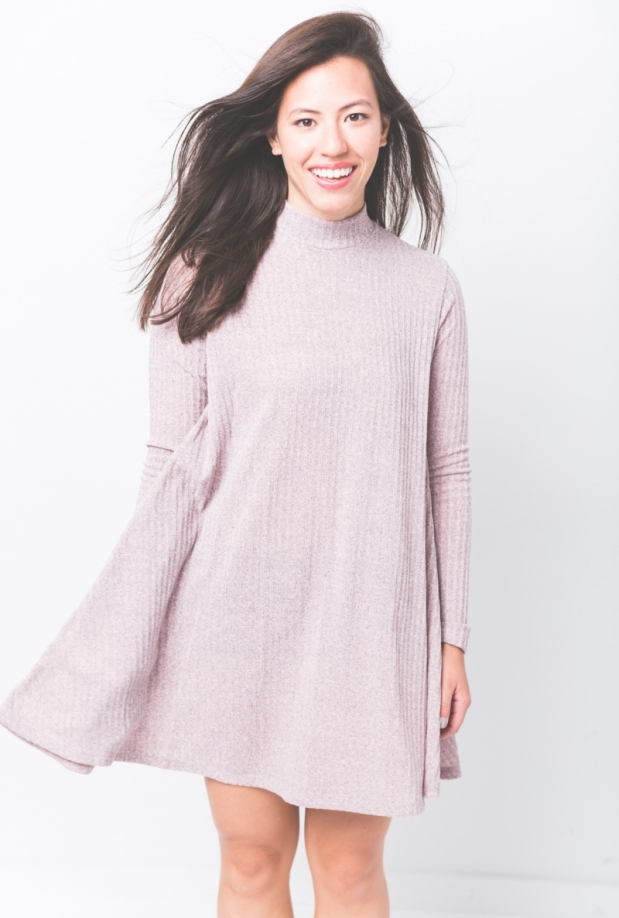 Pink Marle Ribbed Mock Neck Dress