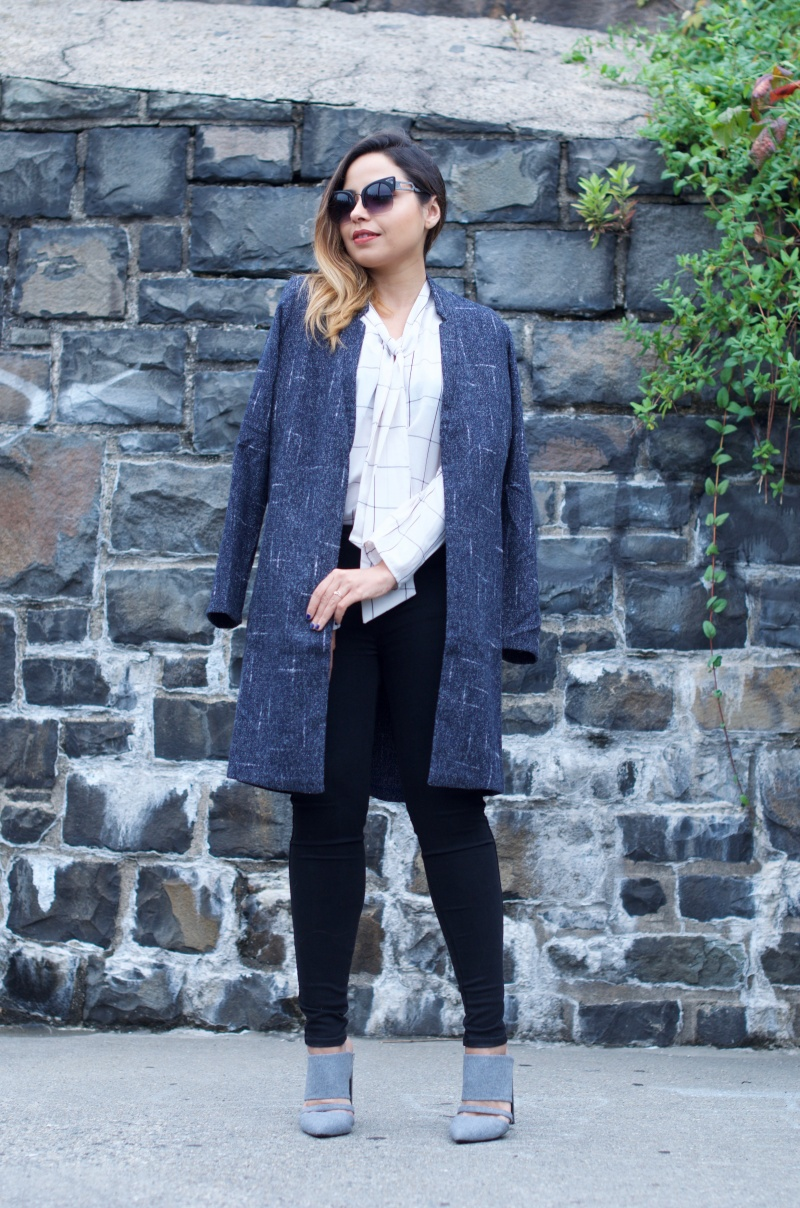 Zen Boyfriend Jacket, Sarah Check top, mojo jeans, sanctuary handbag