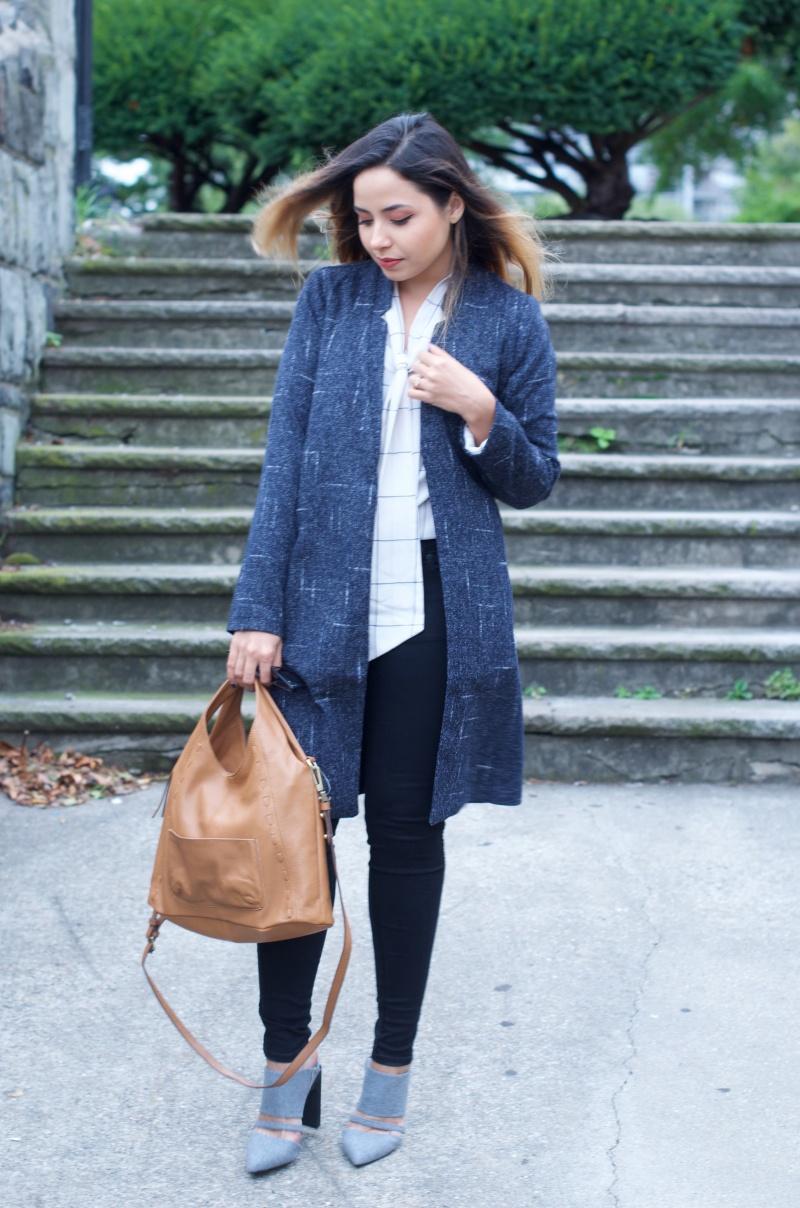 Zen Boyfriend Jacket, Sarah Check top, mojo jeans, sanctuary handbag