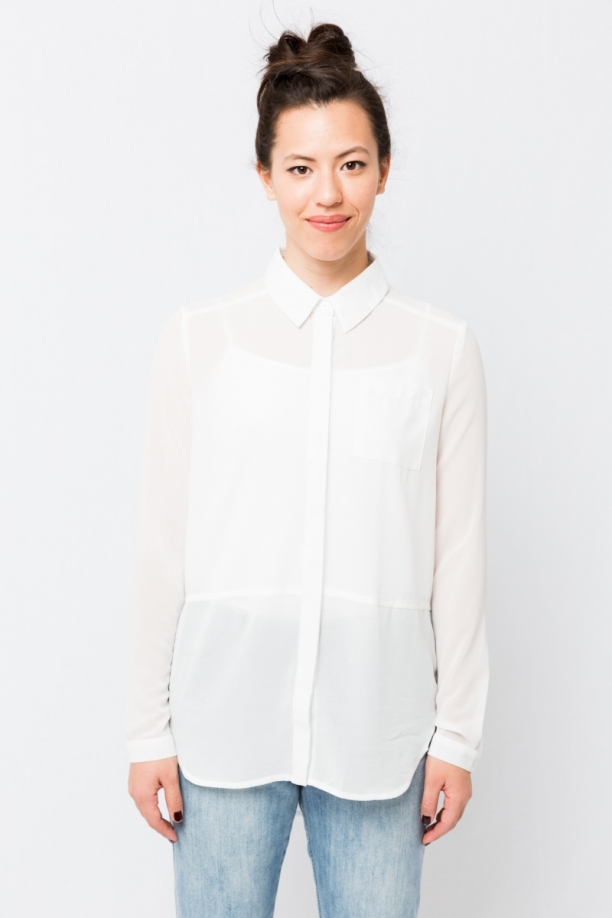 White Chiffon Button Up
