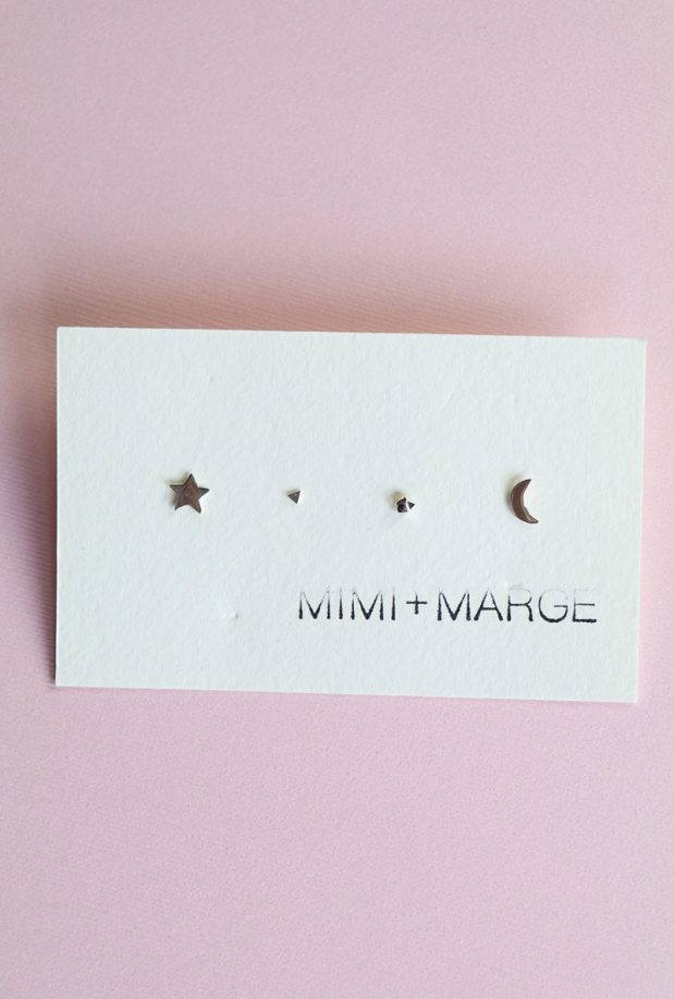 Mimi & Marge Mix + Match Studs- Star, Triangle, Rock, Moon