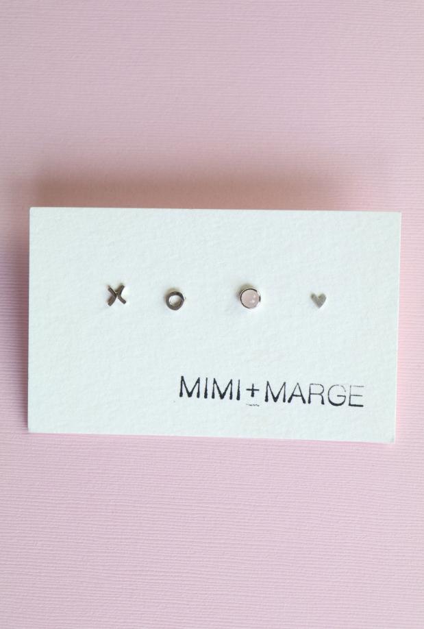 Mimi & Marge Mix + Match Studs- X, O, Rose Quartz, Heart