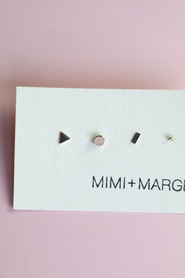 Mimi & Marge Mix + Match Studs- Tri, Rose Quartz, Rectangle, Up Tri