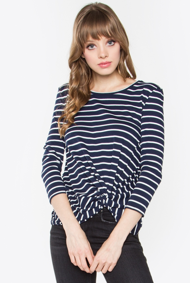 Bardot Navy & White Knot Striped Top