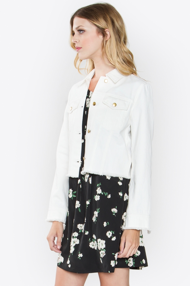 Odette White Frayed Denim Cropped Jacket