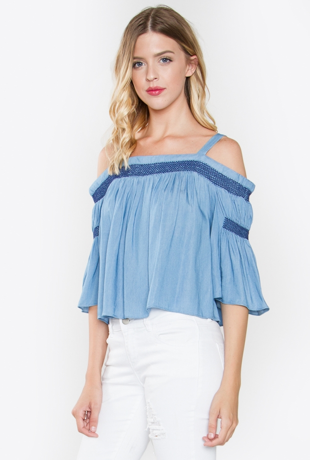Vanessa Denim Off The Shoulder Top
