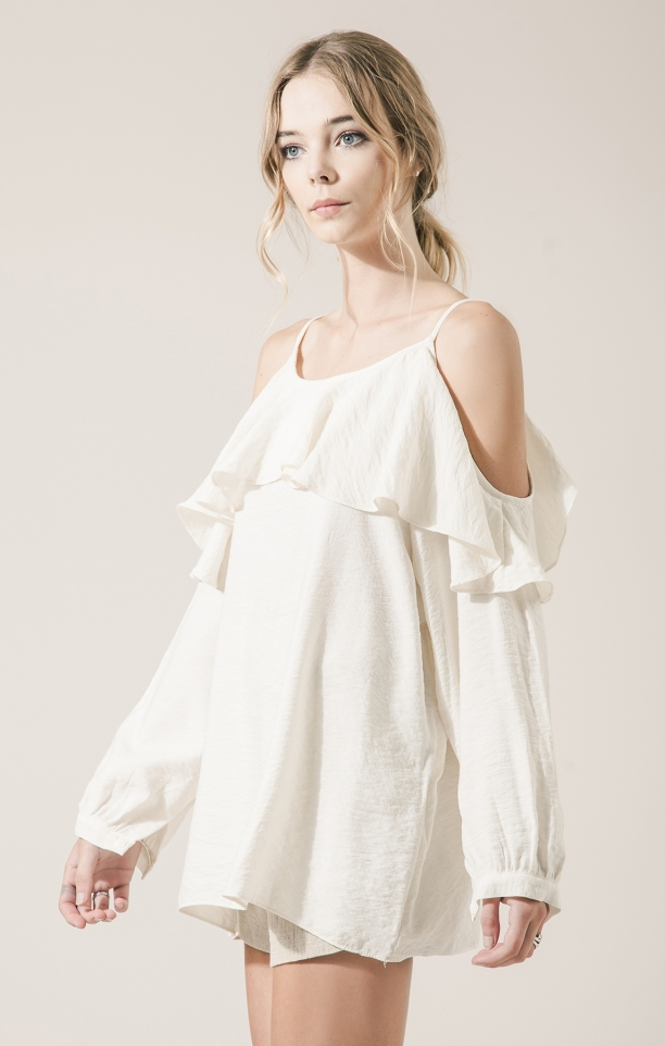 Moon River Harmony Ruffle Cold Shoulder Top