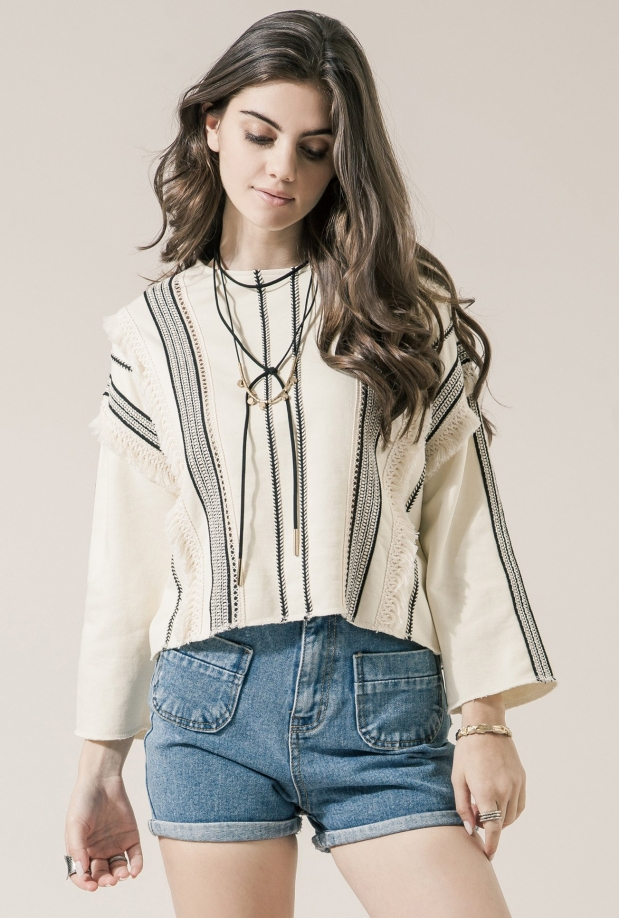Moon River Cream Trim French Terry Top