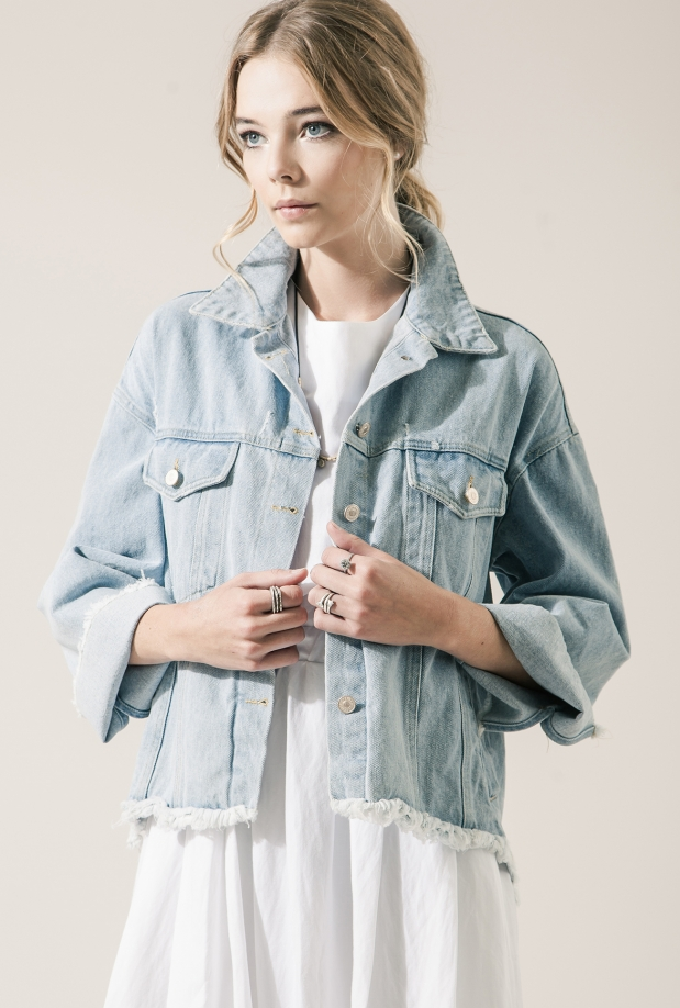 Moon River Frayed Distressed Denim Jacket ($120)- The Style Theory