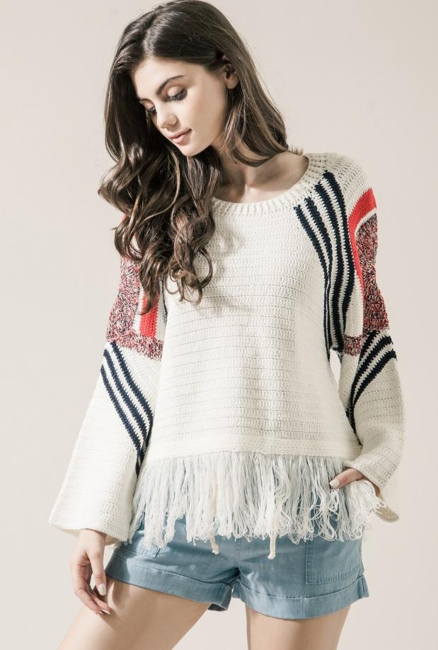 Moon River Fringe Detail Sweater Top