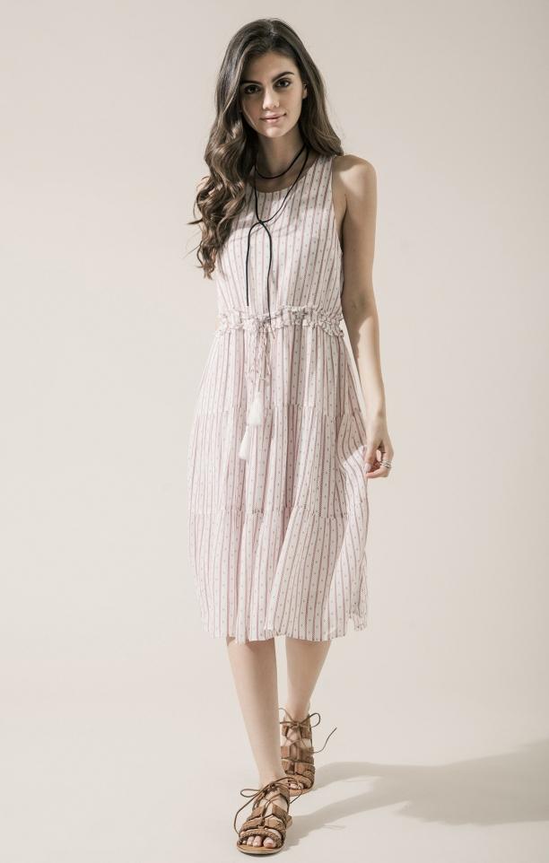 Moon River Striped Drawstring Midi Dress