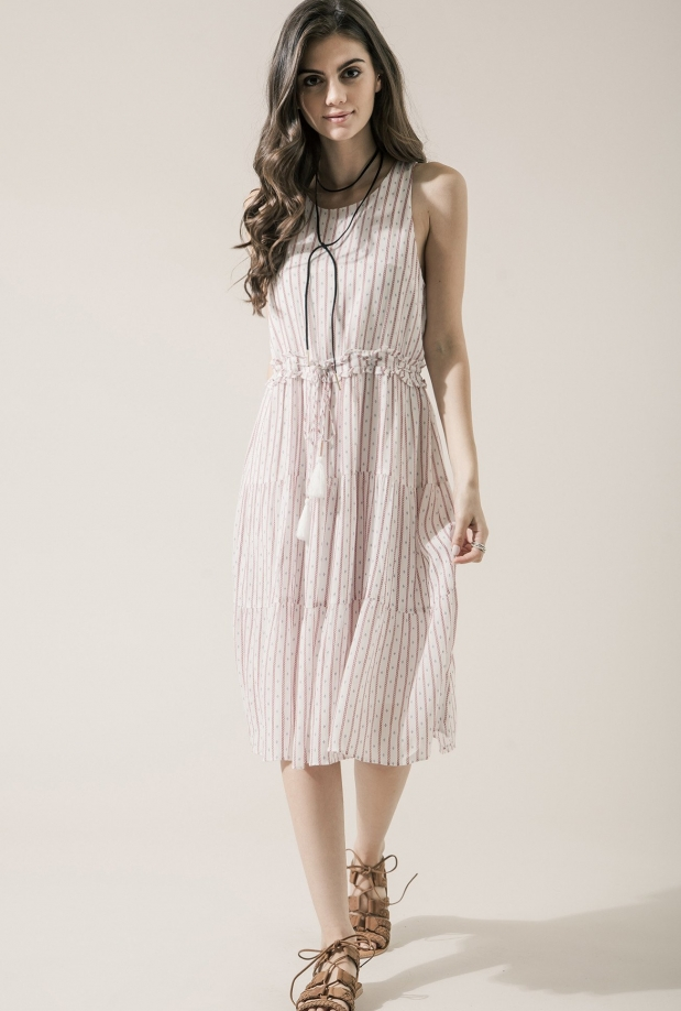 Moon River Striped Drawstring Midi Dress