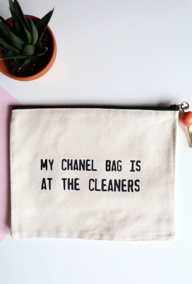 Chanel At Cleaners Canvas Pouch