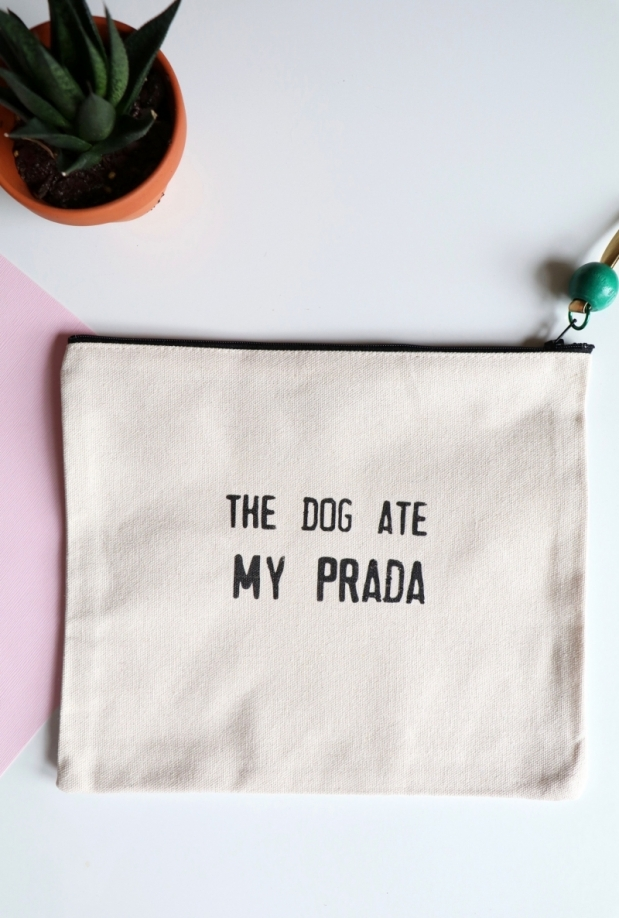 Dog Ate Prada Canvas Pouch