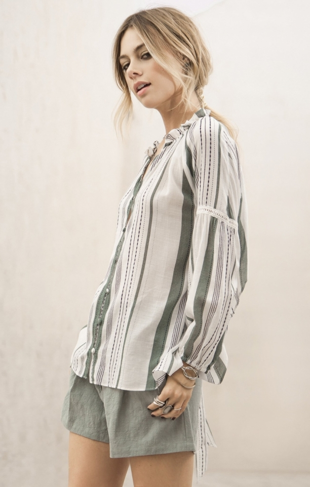Moon River Striped Tie Back Shirt