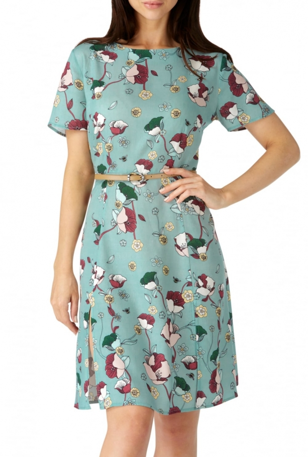 Floral Bee Split Skirt Dress