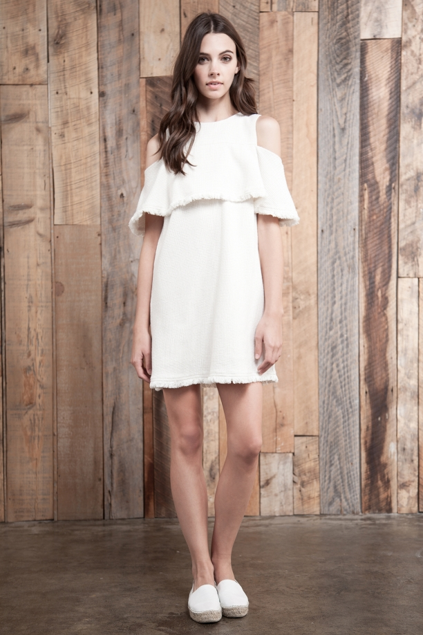 Kayla Woven Cold Shoulder Dress ($88)- The Style Theory