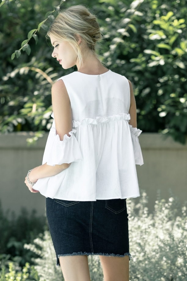 Lila Layered Ruffle Cold Shoulder Top