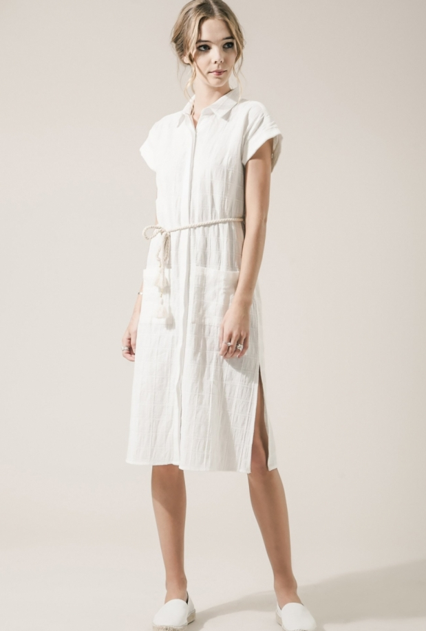 Moon River Linen Shirt Dress