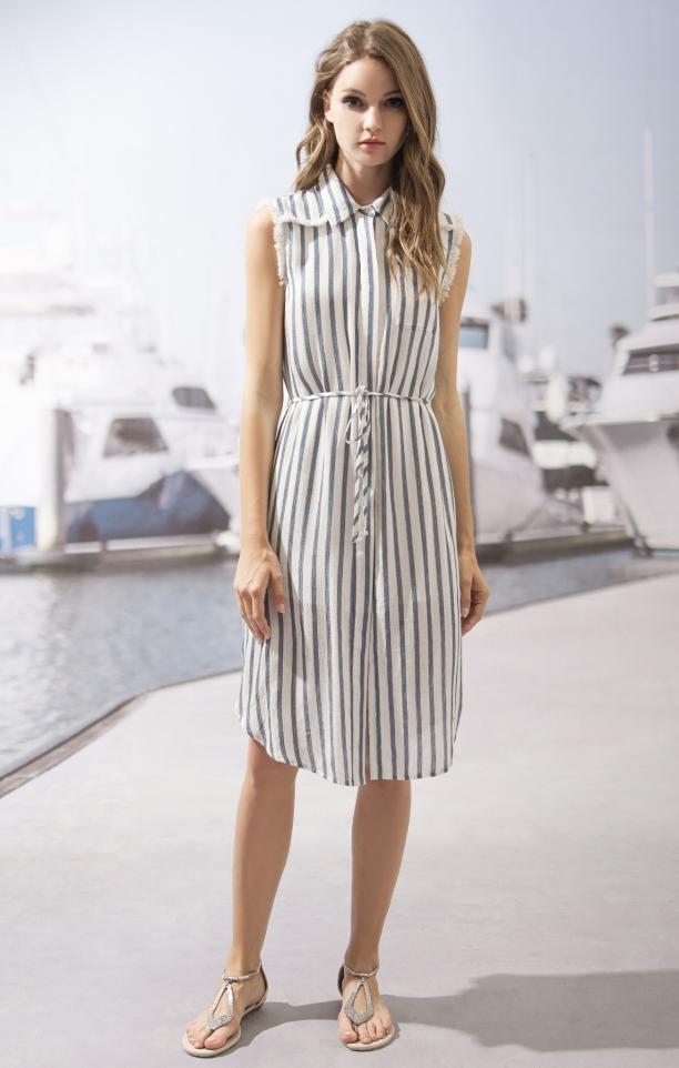 Moon River Sleeveless Vertical Striped Dress