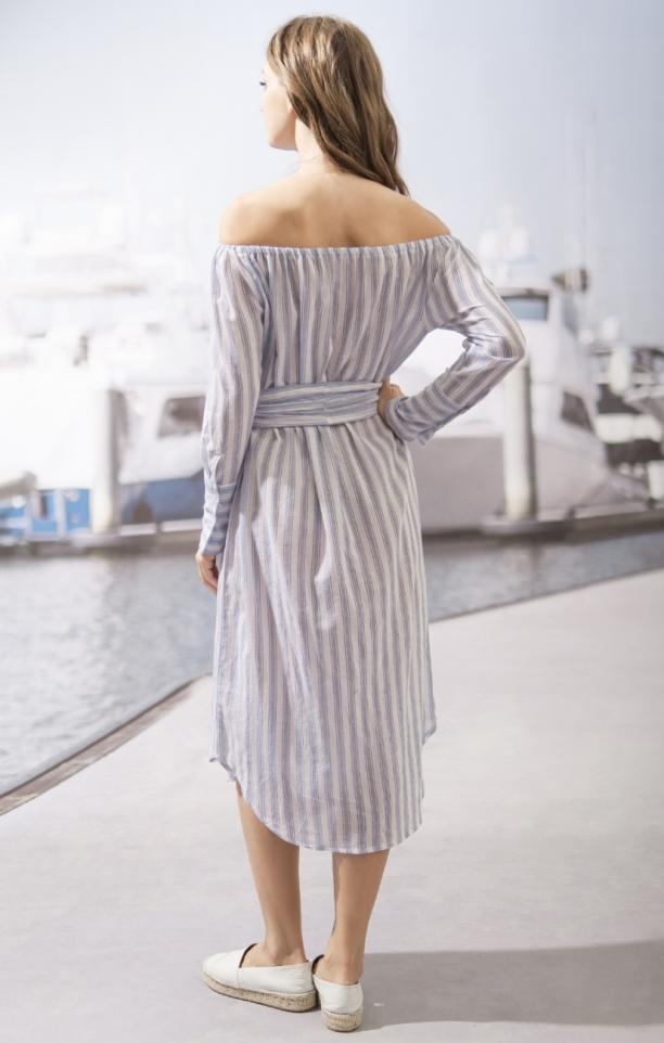 Moon River Vertical Stripe OTS Midi Dress