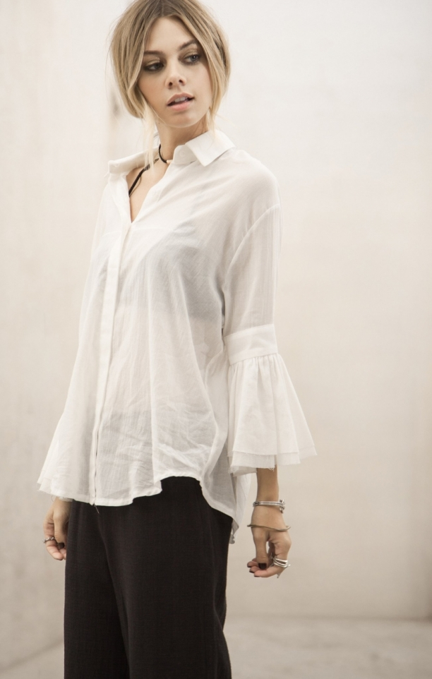 Moon River Flared Sleeve Button Up