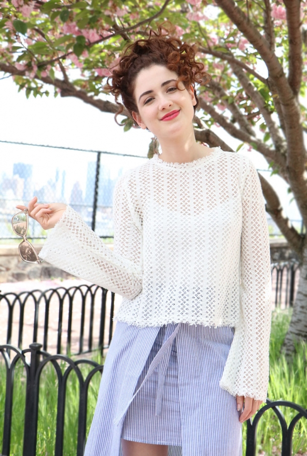 Moon River Cross Stitch Knit Top