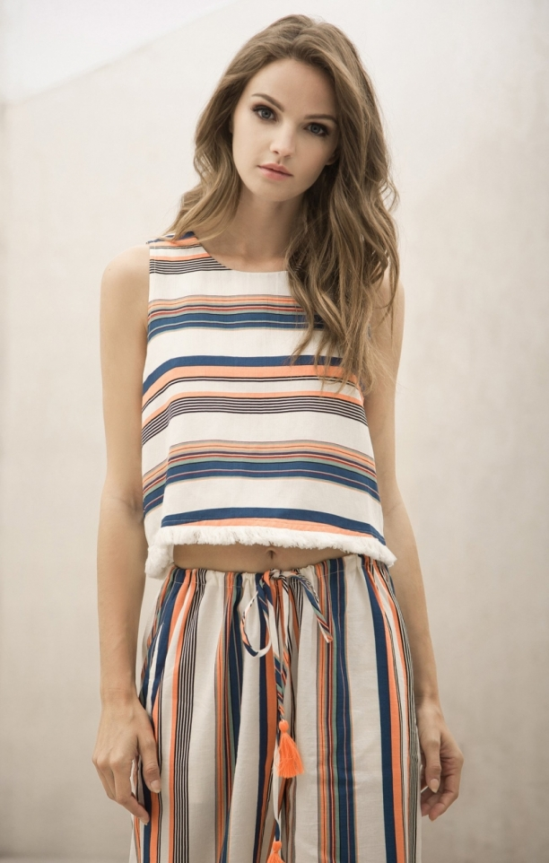 Moon River Taylor Stripe Open Back Top