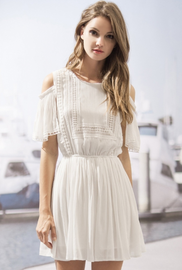 Moon River Summer Lace Cold Shoulder Dress