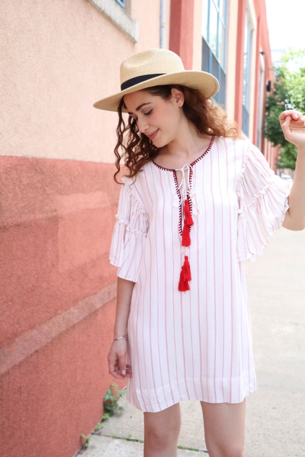 Aria Ruffle Sleeve Tassel Dress