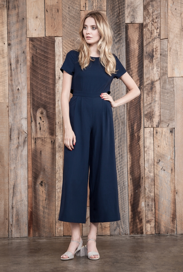 Hannah Navy Open Back Jumpsuit