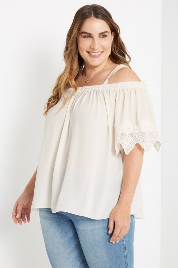 Plus Isabella Crochet Sleeve Top